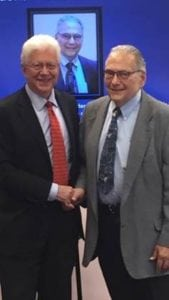 Melvyn Koby, M.D., right, with Henry Kaplan, M.D., chair of the UofL Department of Opthalmology and Visual Sciences