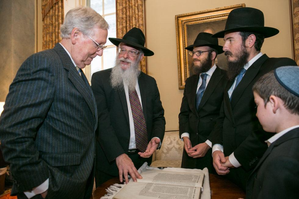 Litvin, rabbis, senators mark return of historic Talmud text